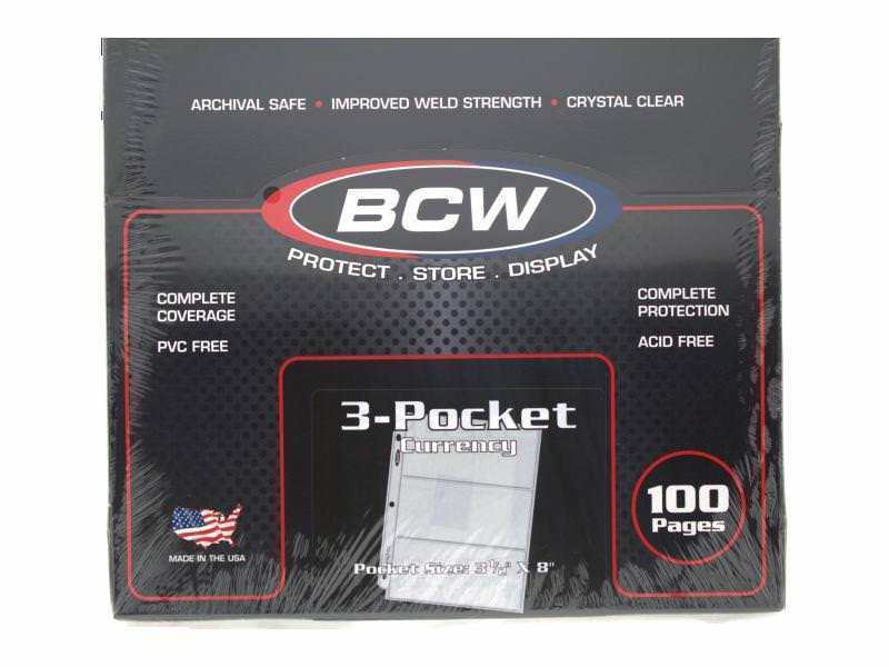 BCW - Pro 3-Pocket Currency Page. Fit All Standard 3-Ring Binder, 100 pack