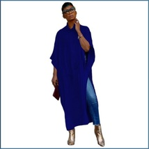Long Loose Cashmere Cape Tunic Hoodie Open Slit Sides Five Colors And Four Sizes image 3