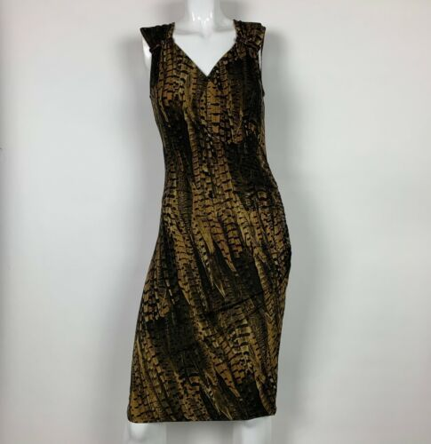 Primary image for MICHAEL Michael Kors Dress Animal print Sleeveless Black Brown Gold Sz XS