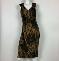 MICHAEL Michael Kors Dress Animal print Sleeveless Black Brown Gold Sz XS - $39.99