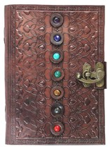New hand made tooled carved leather chakra journal guest book poetry sketch