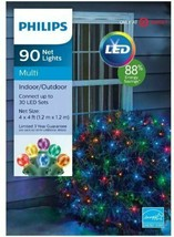 Philips 90ct 4' x 4' Christmas LED Net String Lights Multicolored Tested