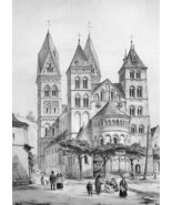 GERMANY Cathedral Church of Andernach Exterior View - SUPERB Litho Antiq... - $38.24