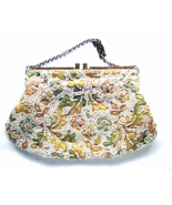 Vintage Saks Fifth Avenue Pastel Embroidered Beaded Rhinestone Frame Purse  - $30.00