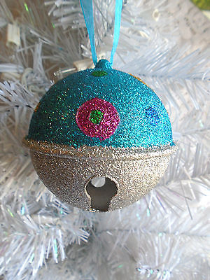 Christmas Tree Ornament Turquoise Blue Silver Decorative Colorful Glitter Bell F
