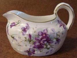 Vintage Hammersley Victorian Violets Creamer Basket Weave England Gold Trim
