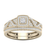 10k Yellow Gold 3/8ct TDW Diamond Halo Birdal Ring - £273.32 GBP