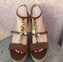 Michael Kors Womens Espadrille Wedge Sandals 9.5 M Suki Charm Leather T Strap - $60.76
