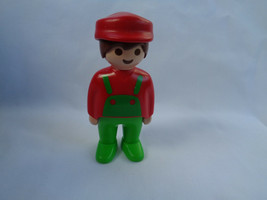 Vintage 1990 Playmobil Green Overalls Red Shirt & Cap Farmer Boy Figure - $2.55