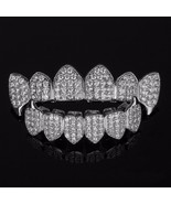 SILVER Plated High Quality CZ Top Fang & Bottom Fang GRILLZ Mouth Teeth ... - $49.49