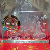 Disney Beauty and the Beast 2 Set Premium Crystal Clock Set Glass Carvin... - $77.22
