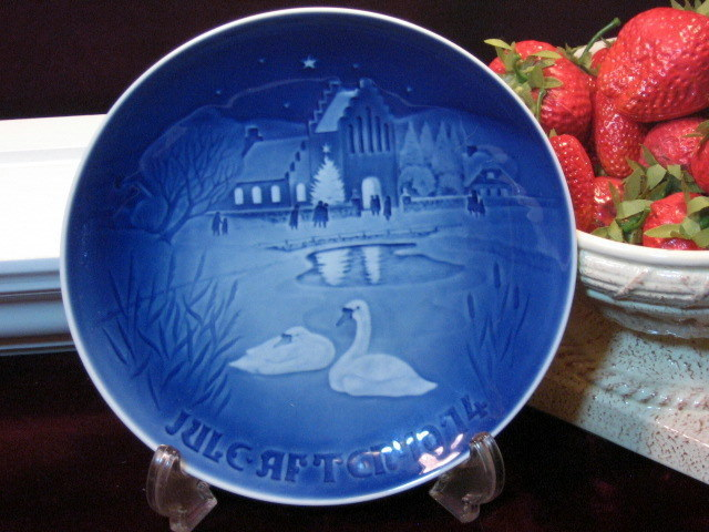 Primary image for B&G Bing & Grondahl Christmas Plate 1974 Christmas in Village Blue White