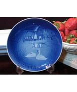 B&G Bing & Grondahl Christmas Plate 1974 Christmas in Village Blue White  - $19.99