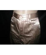 Vivien Caron Brown Striped shiny satin pants 4 - $29.95