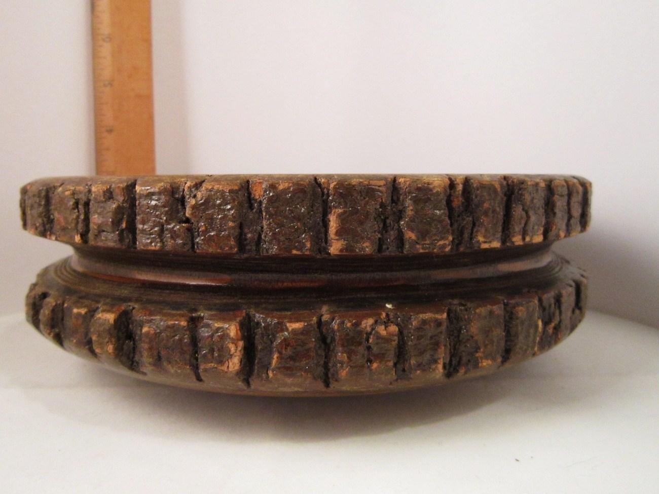 Rustic Wooden Stump Bowl, Natural Bark, Fine Grain, 9 inches across