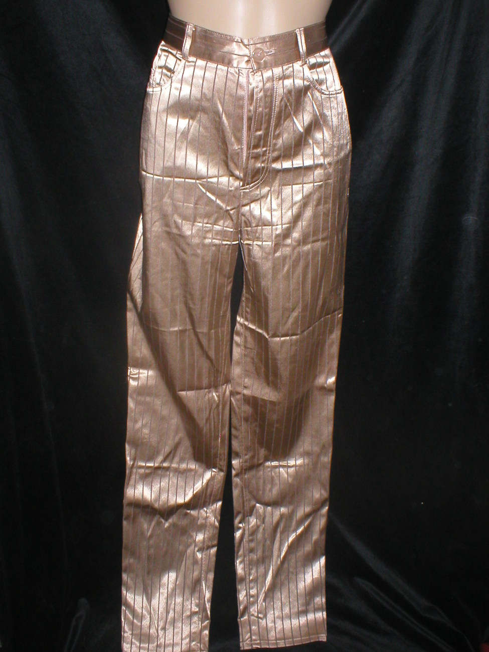 Vivien Caron Brown Striped shiny satin pants 4