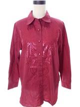 Bob Mackie Red Requin Button Down Shirt Medium - $18.00