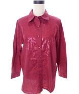 Bob Mackie Red Requin Button Down Shirt Medium - $18.00