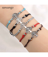 12 Pcs Antique Silver Tree Of Life Shape Alloy Charm Bracelet Cord Bangl... - $10.02