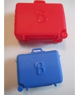 1994 Barbie Doll Red & Blue Suit Cases with Wheels Mattel - $7.91
