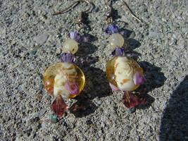 Swarovski Czech Lavender Rosebud Lampwork Earrings - $7.99