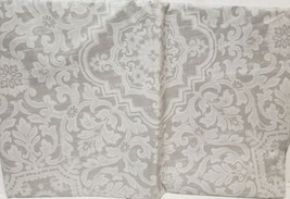 "FLANNEL BACK VINYL TABLECLOTH 60"", ROUND (4-6 ppl) DAMASK FLOWERS ON GRA... - $14.84"