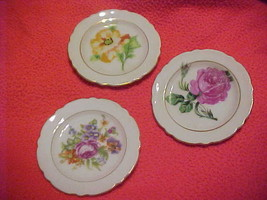 Vintage Floral Bone China Butter Pat Plates (3) - Made in Japan - $13.95