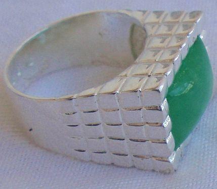 Green agate silver ring men IL