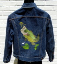 Vintage Hand Painted Bass Levis Denim Trucker Jacket 70505 0217 Size 42 USA - $104.13