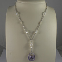 .925 SILVER RHODIUM NECKLACE WITH TRANSPARENT CRYSTALS, PEARLS AND DROP ZIRCON image 1