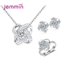 Luxury Bridal Jewelry Sets 925 sterling Silver For Women Wedding Engagem... - $14.50