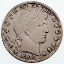 1906-D 50C Barber Half Dollar in Fine Condition, Light Gray Color - $58.15