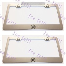 2X Buick Logo Stainless Steel License Plate Frame Rust Free W/ Caps - $22.76