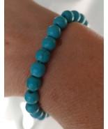 Natural Lava Stone Beaded Bracelet Unisex Turquoise Color - $6.85