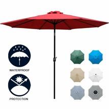 9 Sunbrella Fabric Aluminum Patio Umbrella Auto Tilt Crank 6 Ribs Red NEW - $55.41