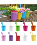 Flower Pot Metal Iron Hanging Planter Balcony Wall Garden Fence Home Pla... - $9.49
