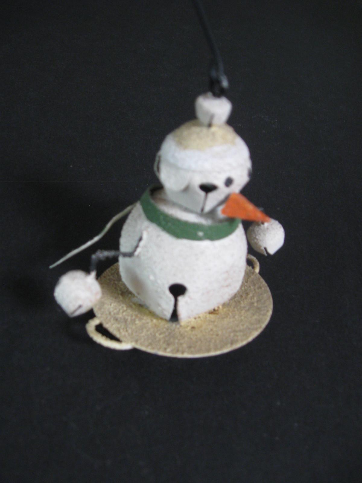 Metal Snowman Jingle Bell Ornament with Metal Hanger
