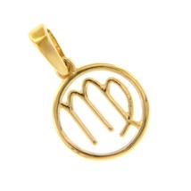 18K YELLOW GOLD ZODIAC SIGN ROUND MINI 12mm PENDANT, ZODIACAL, VIRGO, ST... - $131.50