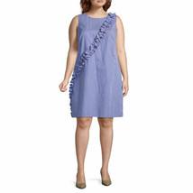 London Times Sleeveless Gingham Shift Dress-Plus - $23.46