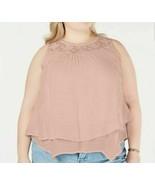 Style & Co Women's Plus Size Lace-Yoke Crochet-Trim Tiered Top, Crushed Petal 0X - $32.13