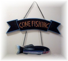 """Gone Fishing"""" Lg. Carved Fish Wooden Wall Plaque On Chains - $12.95"""