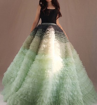 Women Tiered Maxi Tulle Skirt Wedding Bridal Train Skirt Outfit Evening Skirts image 5