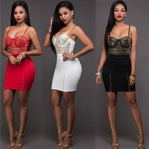 New Women Summer Bandage Mini Dress Bodycon Floral Evening Party Cocktai... - $29.58