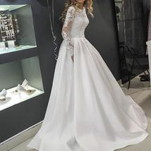 Splendid Tulle High Neckline A-line Long Sleeves Crystals Button Down Wedding Go image 4