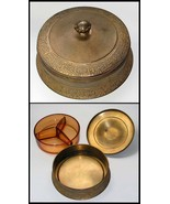 Apollo Studios Brass Box with Divided Amber Glass Insert Dish, Vintage 1... - $140.00