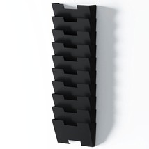 Black Wall Mount Steel Vertical File Organizer Holder Rack 10 Sectional ... - $1.622,37 MXN