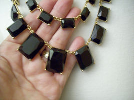 Pearls JET Black Rhinestone DRAMATIC 2 Strand Necklace Chain ASYMMETRICAL Estate image 4