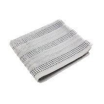 2 X LUXURY STRIPED BRIGHT 100% COMBED COTTON SOFT SILVER BLACK BATH TOWELS - $24.84