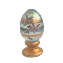 Fenton Art Glass Egg On Pedestal Limited Edition Floral Gold Stripes Base USA - $33.97