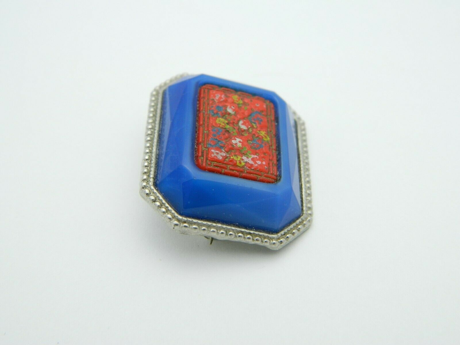 Enamel Inlay Cinnabar Floral Flower Blue Art Glass Silver Tone VTG Pin Brooch